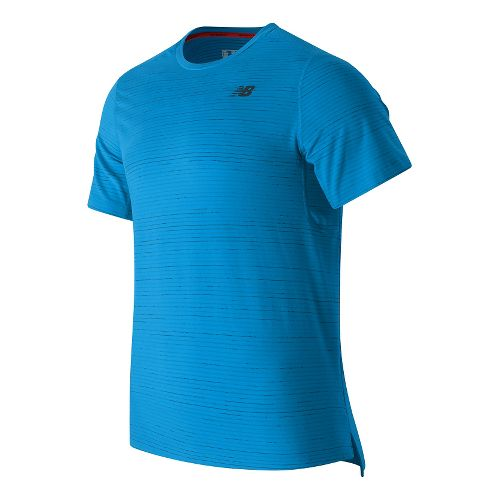 Mens New Balance Max Speed Short Sleeve Technical Tops - Barracuda M