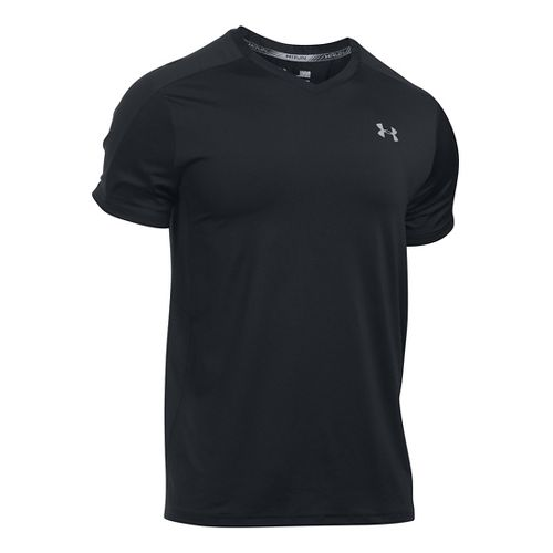 Mens Under Armour CoolSwitch Run V-Neck Short Sleeve Technical Tops - Black L