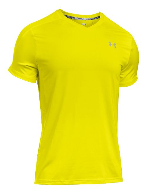 Mens Under Armour CoolSwitch Run V-Neck Short Sleeve Technical Tops - Flash Light L