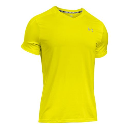 Mens Under Armour CoolSwitch Run V-Neck Short Sleeve Technical Tops - Flash Light XXL