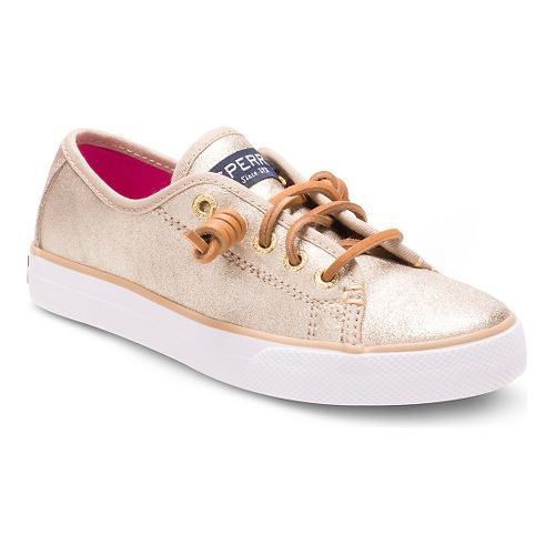 Kids Sperry Seacoast Leather Casual Shoe - Platinum 3.5Y
