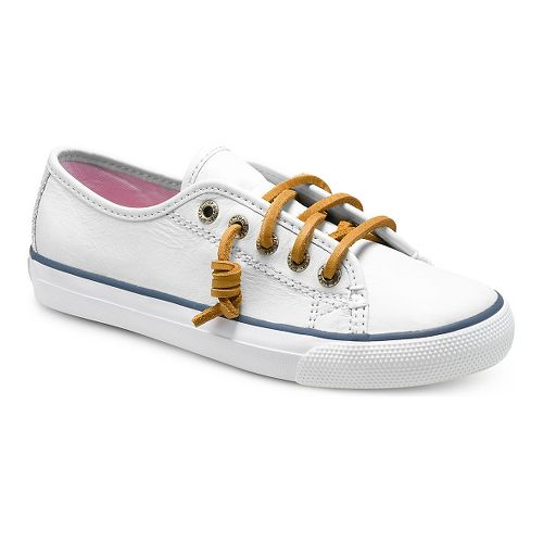 Kids Sperry Seacoast Leather Casual Shoe - White 3Y