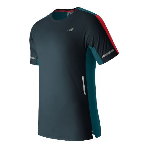 Mens New Balance Precision Run Short Sleeve Technical Tops - Galaxy M
