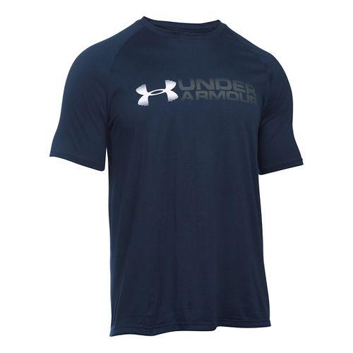 Mens Under Armour Fade Away Wordmark T Short Sleeve Technical Tops - Midnight Navy/Grey M