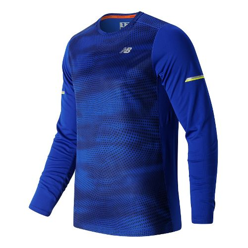 Mens New Balance NB Ice Long Sleeve Technical Tops - Marine Blue Print XL