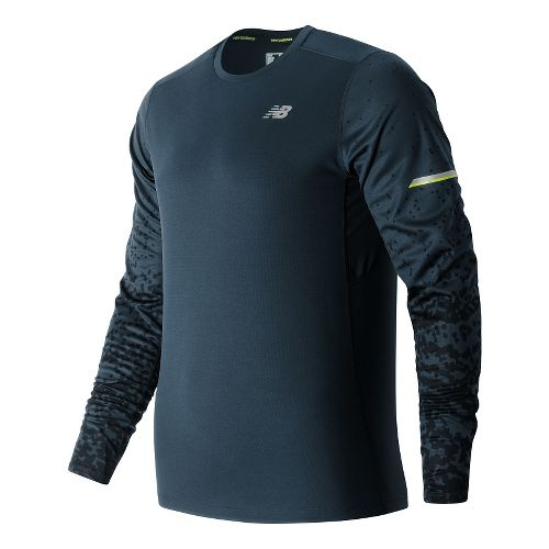 Mens New Balance NB Ice Long Sleeve Technical Tops - Galaxy Tech Print S