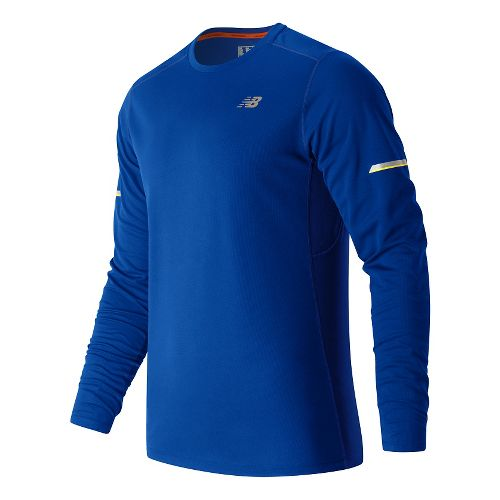Mens New Balance NB Ice Long Sleeve Technical Tops - Marine Blue M