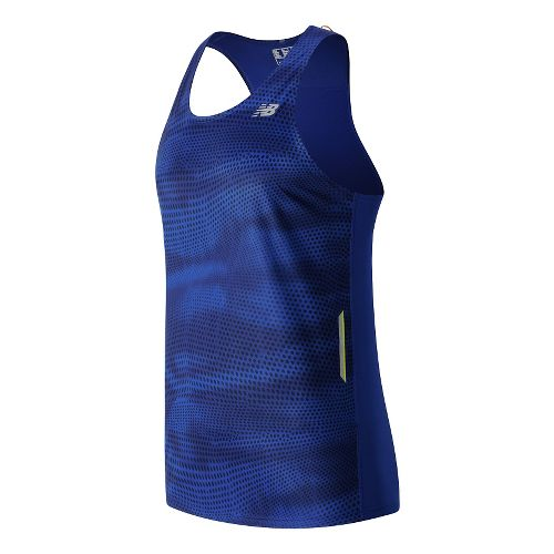Mens New Balance NB Ice Singlet Sleeveless & Tank Technical Tops - Marine Blue Print ...