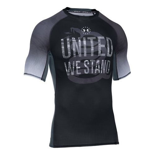 Mens Under Armour HeatGear Freedom Camo Short Sleeve Technical Tops - Black M