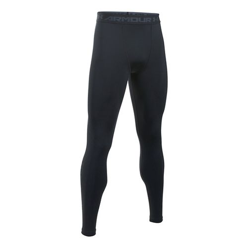 Mens Under Armour HeatGear Graphic Tights & Leggings Pants - Black/Stealth Grey L