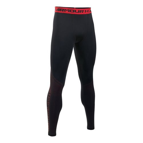 Mens Under Armour HeatGear Graphic Tights & Leggings Pants - Black/Red S