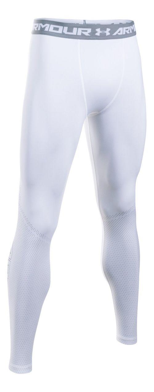 Mens Under Armour HeatGear Graphic Tights & Leggings Pants - White/Graphite S