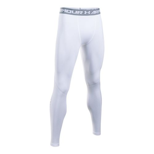 Mens Under Armour HeatGear Graphic Tights & Leggings Pants - White/Graphite S