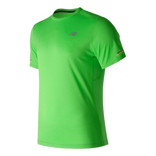 Mens New Balance NB Ice Short Sleeve Technical Tops - Vivid Cactus S