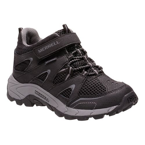 Kids Merrell Hilltop Mid Quick Close Waterproof Hiking Shoe - Black 1Y