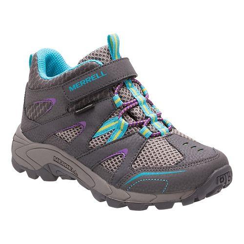 Kids Merrell Hilltop Mid Quick Close Waterproof Hiking Shoe - Grey/Multi 1.5Y