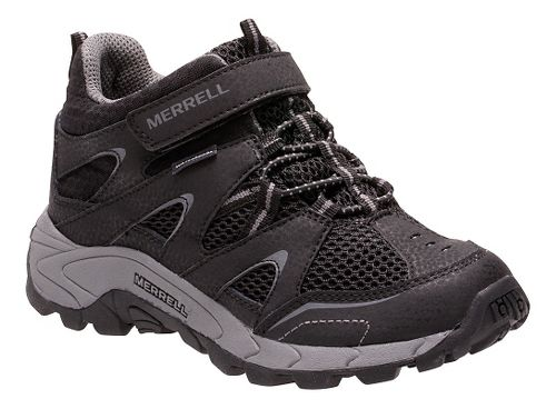 Kids Merrell Hilltop Mid Quick Close Waterproof Hiking Shoe - Black 6.5Y