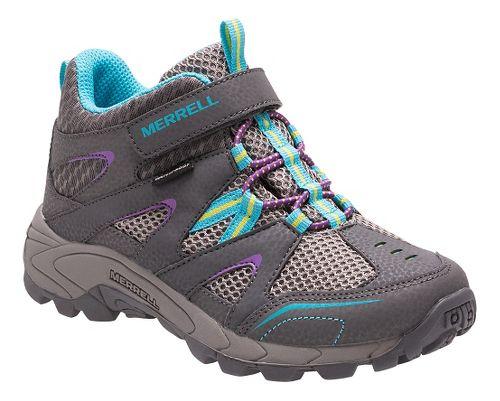 Kids Merrell Hilltop Mid Quick Close Waterproof Hiking Shoe - Grey/Multi 3.5Y