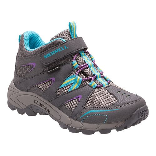 Kids Merrell Hilltop Mid Quick Close Waterproof Hiking Shoe - Grey/Multi 3.5Y
