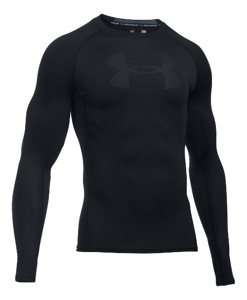 Mens Under Armour HeatGear Graphic Long Sleeve Technical Tops - Black/Stealth Grey M