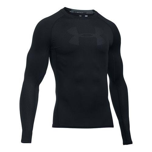 Mens Under Armour HeatGear Graphic Long Sleeve Technical Tops - Black/Stealth Grey XXL