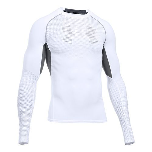 Mens Under Armour HeatGear Graphic Long Sleeve Technical Tops - White/Graphite L
