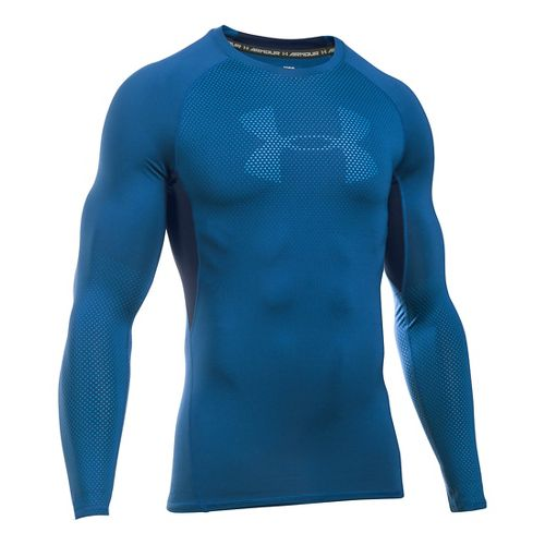 Mens Under Armour HeatGear Graphic Long Sleeve Technical Tops - Heron/Midnight Navy L
