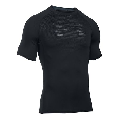 Mens Under Armour HeatGear Graphic Short Sleeve Technical Tops - Black/Stealth Grey S