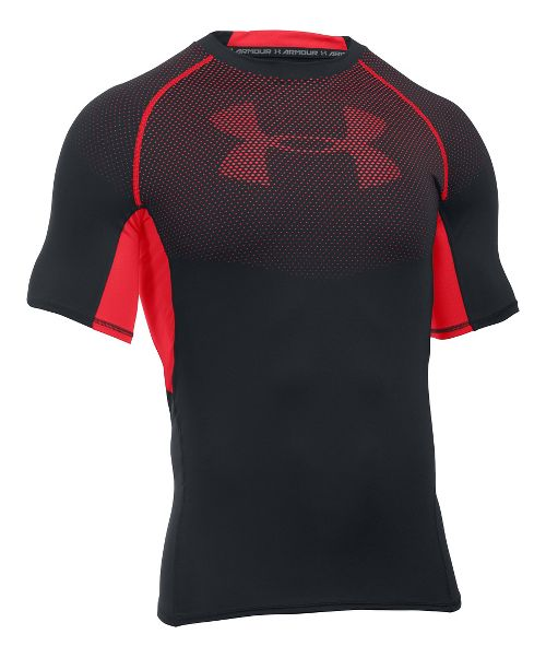 Mens Under Armour HeatGear Graphic Short Sleeve Technical Tops - Black/Red XL