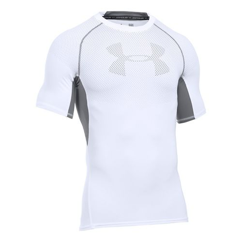 Mens Under Armour HeatGear Graphic Short Sleeve Technical Tops - White/Graphite XL