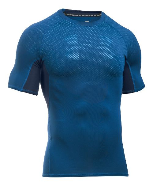 Mens Under Armour HeatGear Graphic Short Sleeve Technical Tops - Heron/Midnight Navy M
