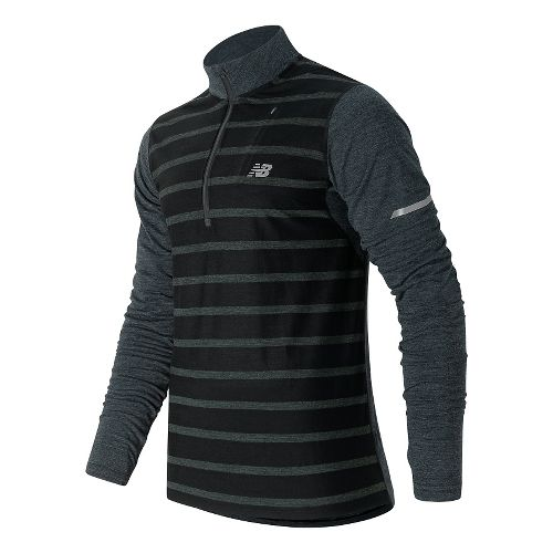 Mens New Balance Performance Merino Half Zip Long Sleeve Technical Tops - Black Heather M ...