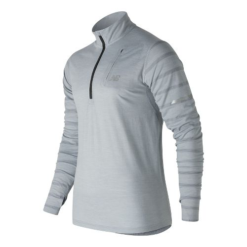 Mens New Balance Performance Merino Half Zip Long Sleeve Technical Tops - Athletic Grey L ...