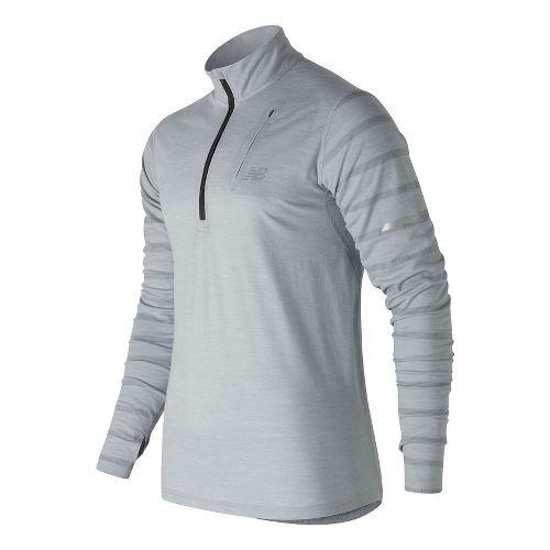 Mens New Balance Performance Merino Half Zip Long Sleeve Technical Tops - Athletic Grey S ...