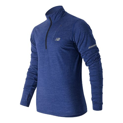 Mens New Balance Performance Merino Half Zip Long Sleeve Technical Tops - Marine Heather XL ...