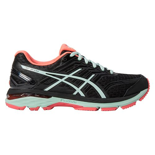 Womens ASICS GT-2000 5 Running Shoe - Black/Mint 10.5