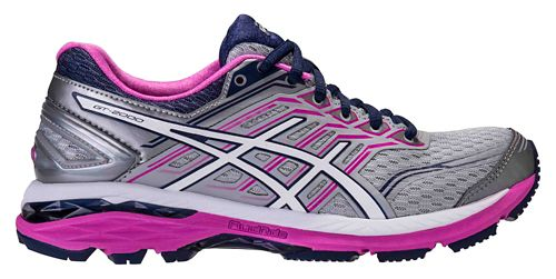 Womens ASICS GT-2000 5 Running Shoe - Grey/Pink 6.5