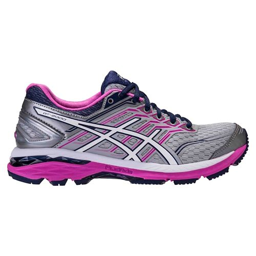 Womens ASICS GT-2000 5 Running Shoe - Grey/Pink 7.5