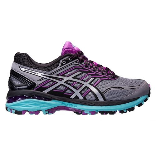 Womens ASICS GT-2000 5 Trail Running Shoe - Grey/Orchid 8.5