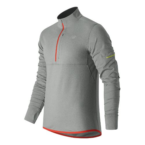 Mens New Balance NB Heat Half Zip Long Sleeve Technical Tops - Athletic Grey L ...