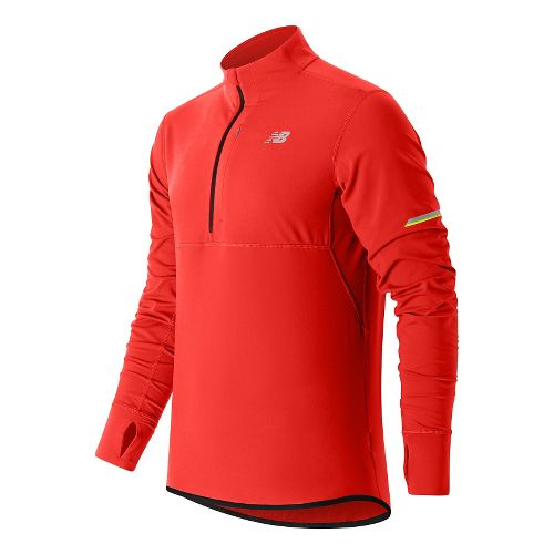 Mens New Balance NB Heat Half Zip Long Sleeve Technical Tops - Atomic M