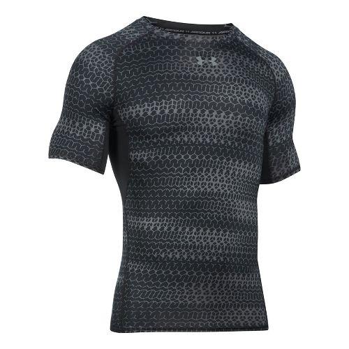 Mens Under Armour HeatGear Armour Compression Printed Short Sleeve Technical Tops - Black/Black L