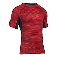 Mens Under Armour HeatGear Armour Compression Printed Short Sleeve Technical Tops