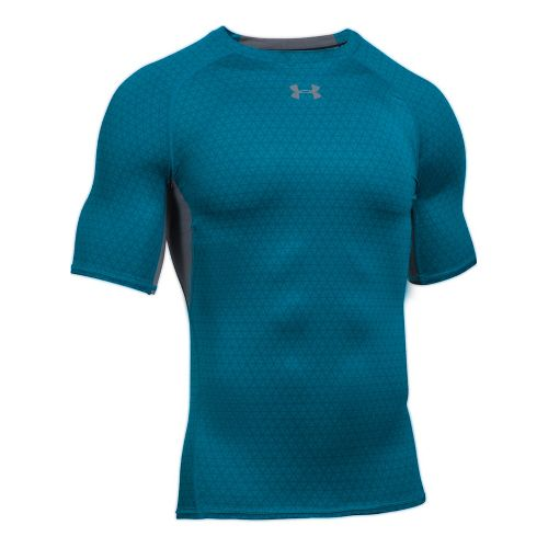 Mens Under Armour HeatGear Compression Printed Short Sleeve Technical Tops - Bayou Blue/Graphite L
