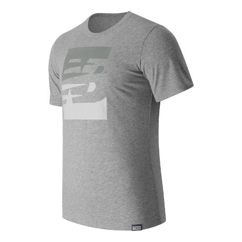 Mens New Balance Split Sport Style Tee Short Sleeve Technical Tops - Athletic Grey L ...
