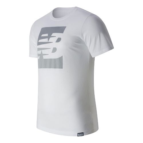 Mens New Balance Split Sport Style Tee Short Sleeve Technical Tops - White S