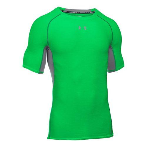 Mens Under Armour HeatGear Twist Short Sleeve Technical Tops - Green/Graphite L