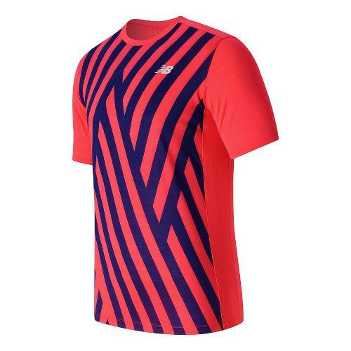 Mens New Balance Brunton Crew Short Sleeve Technical Tops - Bright Cherry Print XL