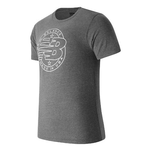 Mens New Balance Emblem Tee Short Sleeve Technical Tops - Athletic Grey M