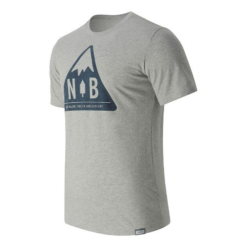 Mens New Balance Mountain Patch Tee Short Sleeve Technical Tops - Athletic Grey M